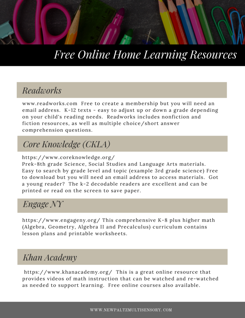 Free Online Home Learning Resources!